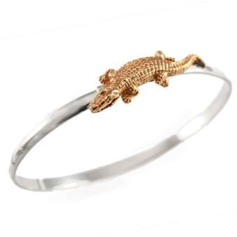 "1 3/8"" 14K Gold Alligator on Sterling Silver Hook Bracelet - Jewelry Works"