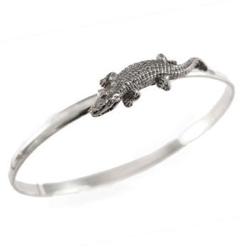 "1 3/8"" Sterling Silver Gator Alligator Hook Bracelet - Jewelry Works"