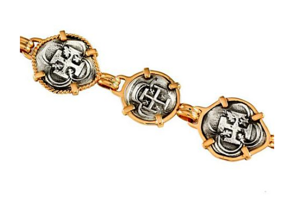 46124 - REPLICA ATOCHA BRACELET WITH 3 ALTERNATING COIN LINKS - Jewelry Works