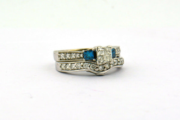 14KW 1.75cttw 3-Stone Blue & White Diamond Matching Wedding Set Center GSI CERT - Jewelry Works