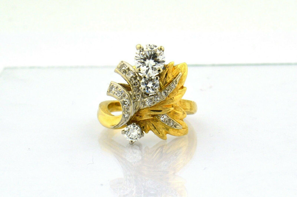 Antique Custom Leaf Inspired Ring 1.4cttw Diamonds 14K Yellow/White Gold Unique - Jewelry Works