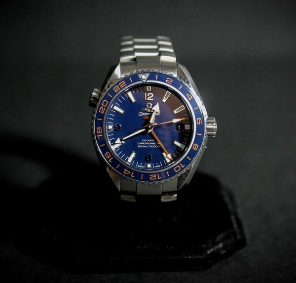 Omega Seamaster GMT Planet Ocean Stainless Steel Automatic Watch with Orange and - Jewelry Works