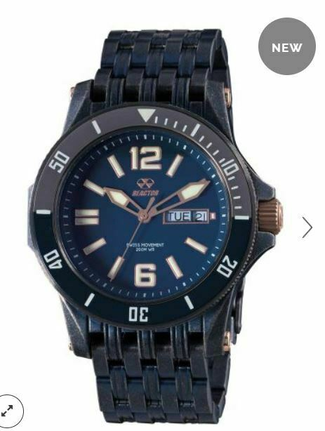 Men's Reactor Watch Tau 61603 Blue plating navy dial & rose gold accents NWT
