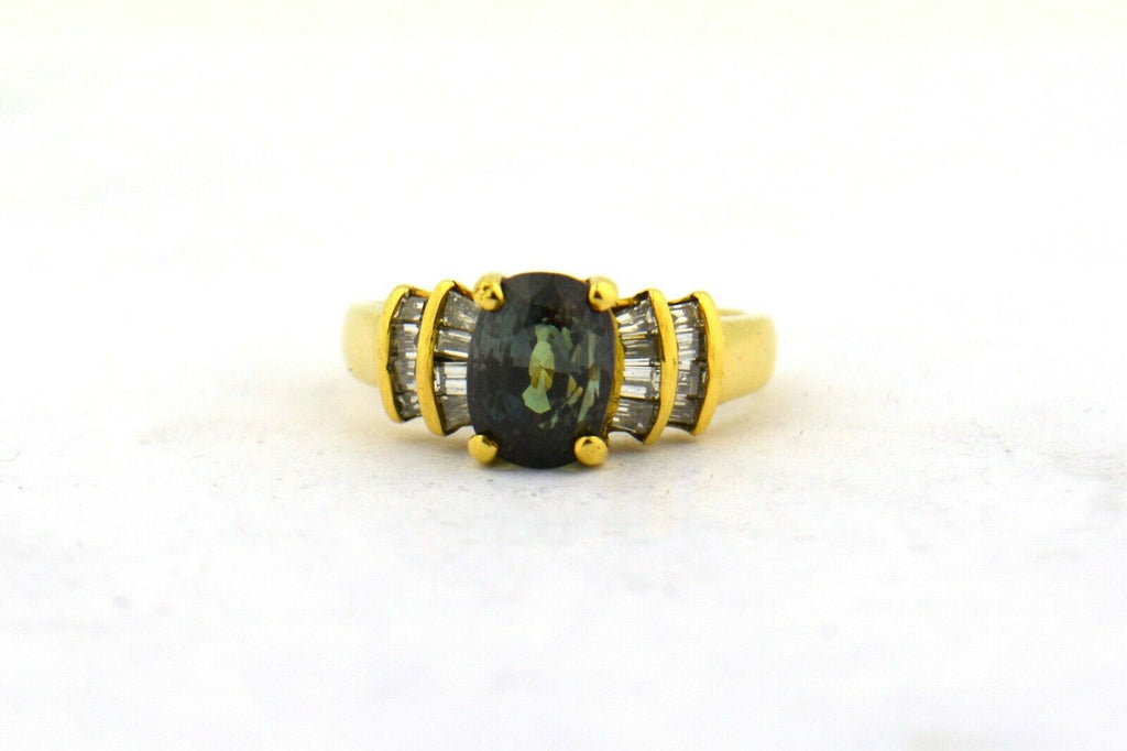 Rare Natural GIA AGL Certified Oval Alexandrite Green Purple 18KY Dia Ring - Jewelry Works