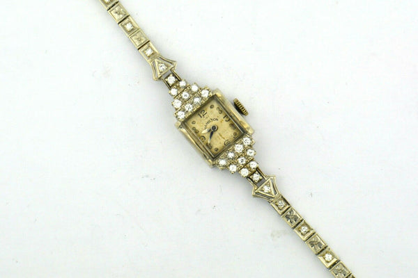 14KW Antique Gold Ladies Art Deco .95cttw Diamond Hamilton Wrist Watch Man Wind - Jewelry Works