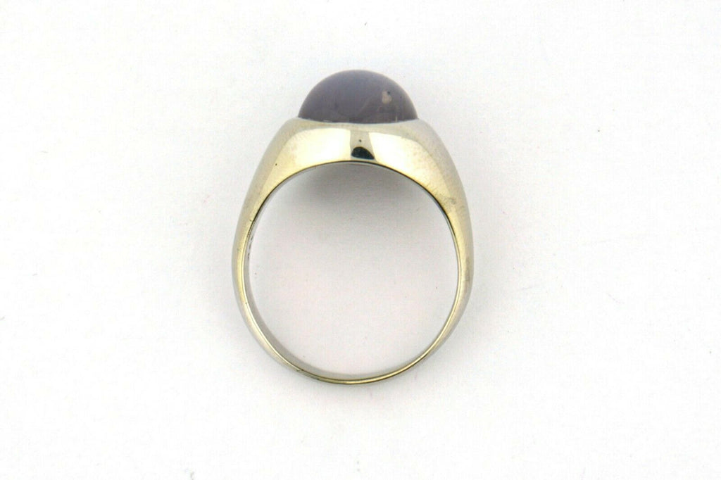 Men's 14k White Gold Ring 16.5 Carat Gray Star Sapphire Cabochon 14.9g Size 12 - Jewelry Works