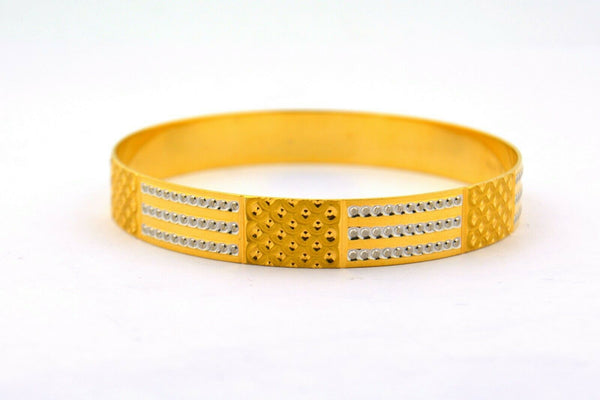 22K Two-Tone Patterned Bangle Bracelet Diamond-Like Cut 10MM Wide 28.6g - Jewelry Works