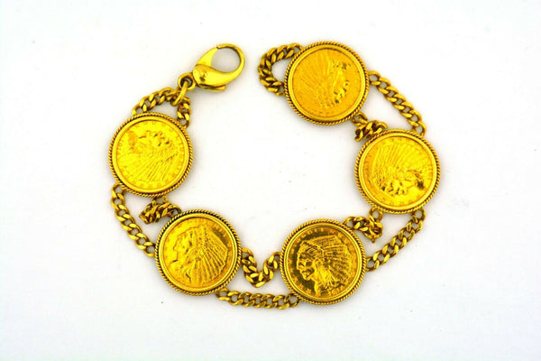 18KY 8in Bracelet with 5 21KY Gold $2.50 1908-1914 Golden Eagle Coins 44.1GRAMS! - Jewelry Works
