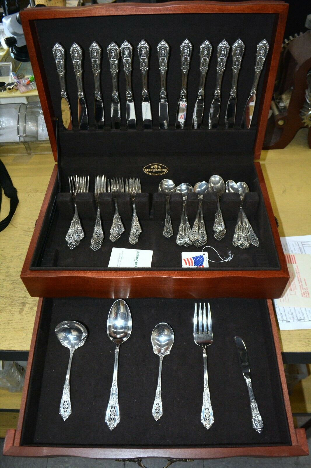Reed And Barton 73 Piece Sterling Silver Flatware Set With Original Ch Jewelry Works