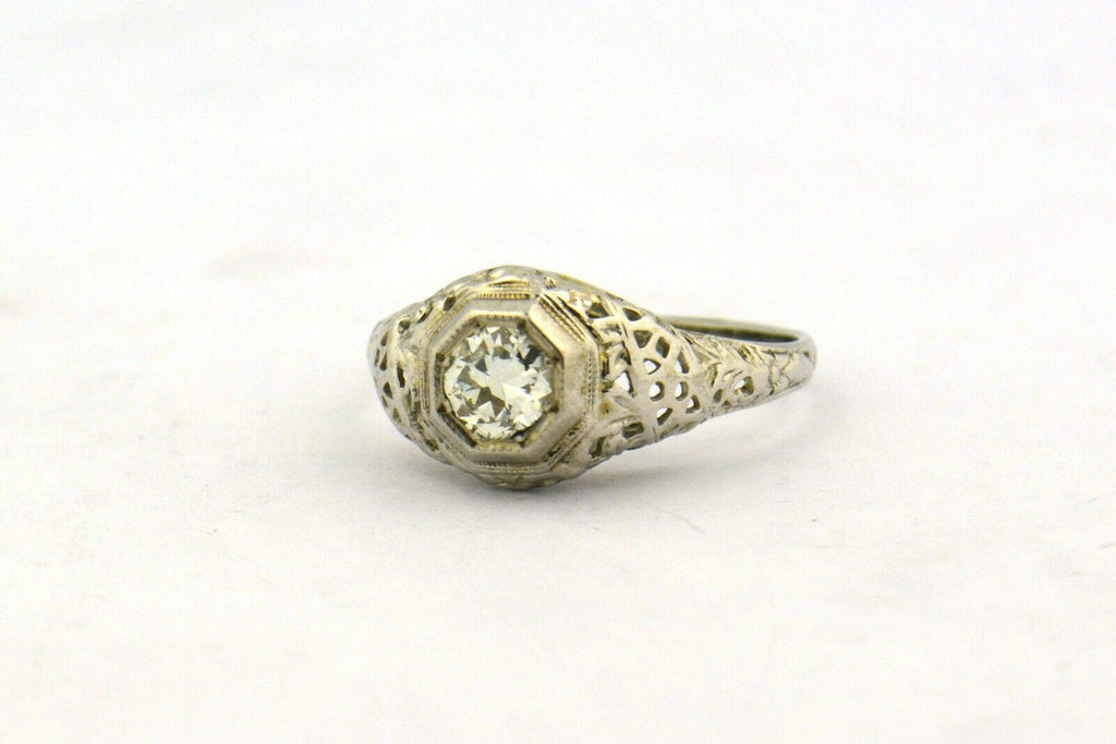 Antique Edwardian Era Old European Cut Diamond 14KW Gold Filigree Ring .33ct - Jewelry Works