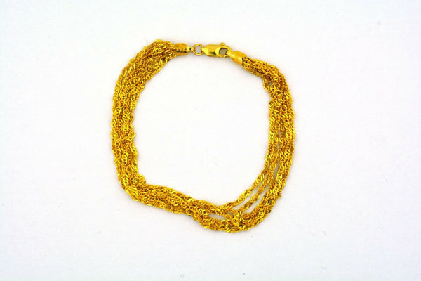 "14K Yellow Gold 7.5"" 6 Strand Sparkle Curb Bracelet 3.1g - Jewelry Works"