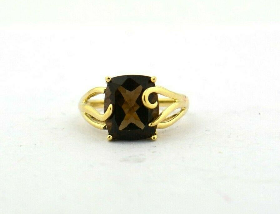 10KY 15CT Rectangular Cushion Smoky Quartz Free Form Ring 3.5G Sz8