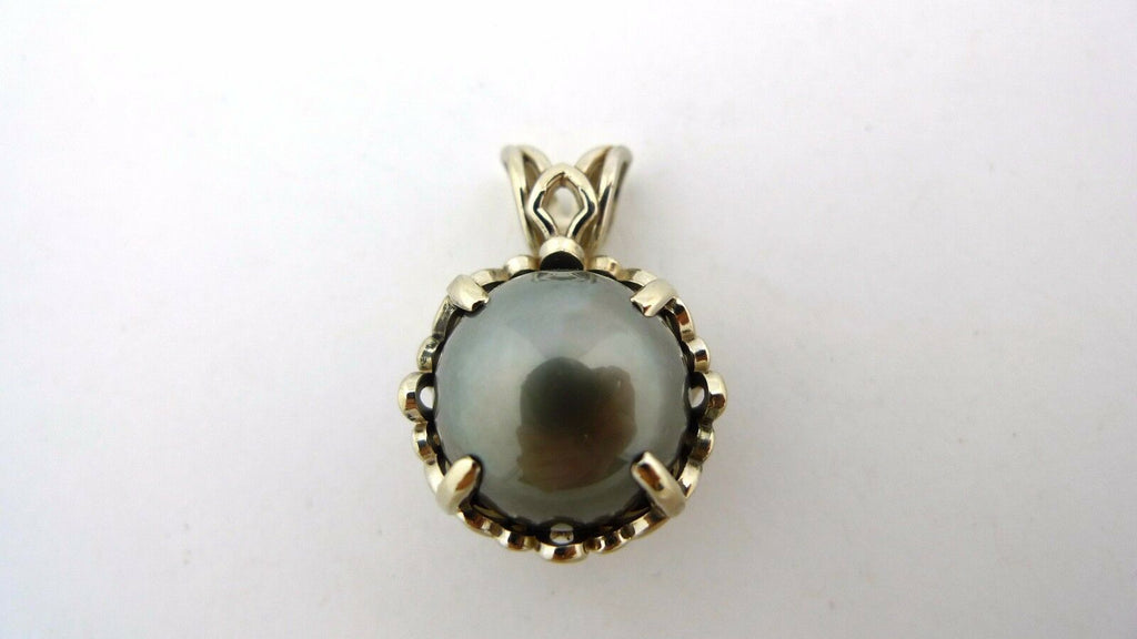 14K White Gold Grey Tahitian Pearl Pendant 12.7mm 5.8g - Jewelry Works