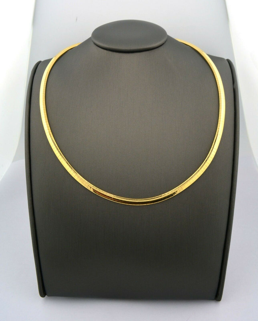 14K Yellow Gold High Quality 18in 4mm Omega Collar Necklace 25.5G - Jewelry Works