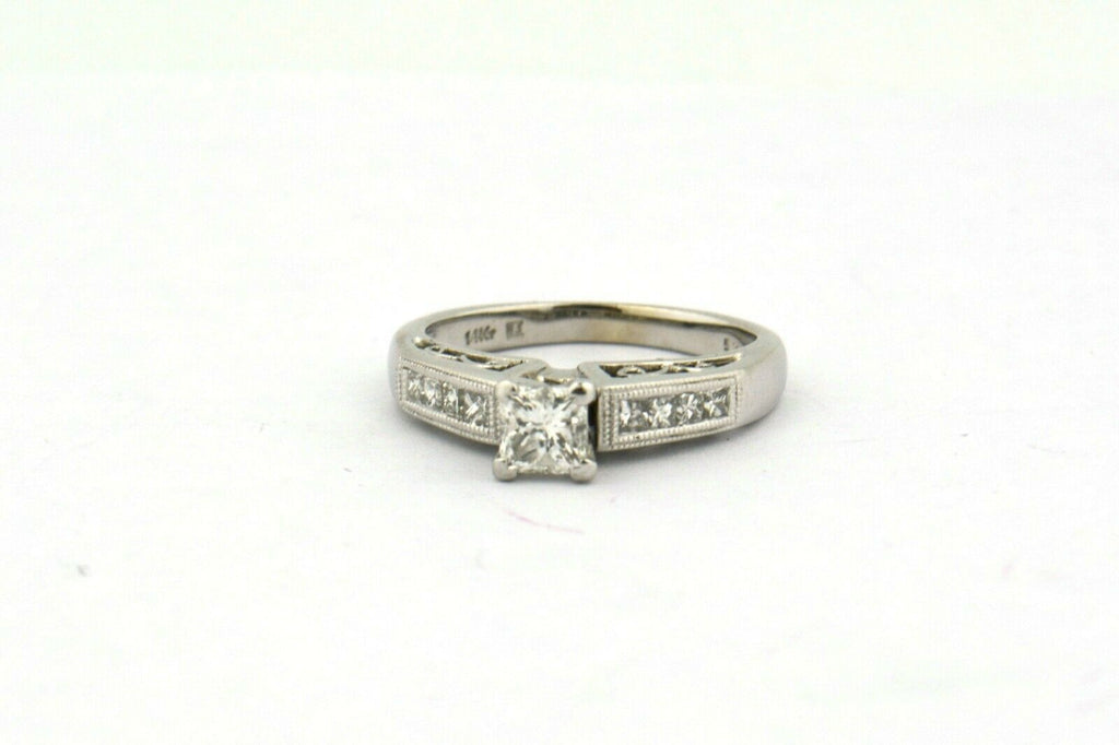 14K White Gold 1cttw Engagement Ring and Band Set I1 H-I Center .38ct Princess - Jewelry Works