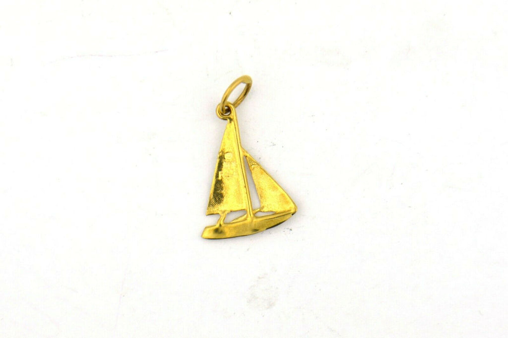 Vintage 14KY 23x14MM Sailboat Charm 0.8G - Jewelry Works
