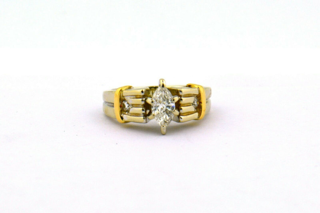 14K Two-Tone 0.45CTTW Round & Marquise Diamond Engagement Ring SI2 J .40CT 5.7g - Jewelry Works