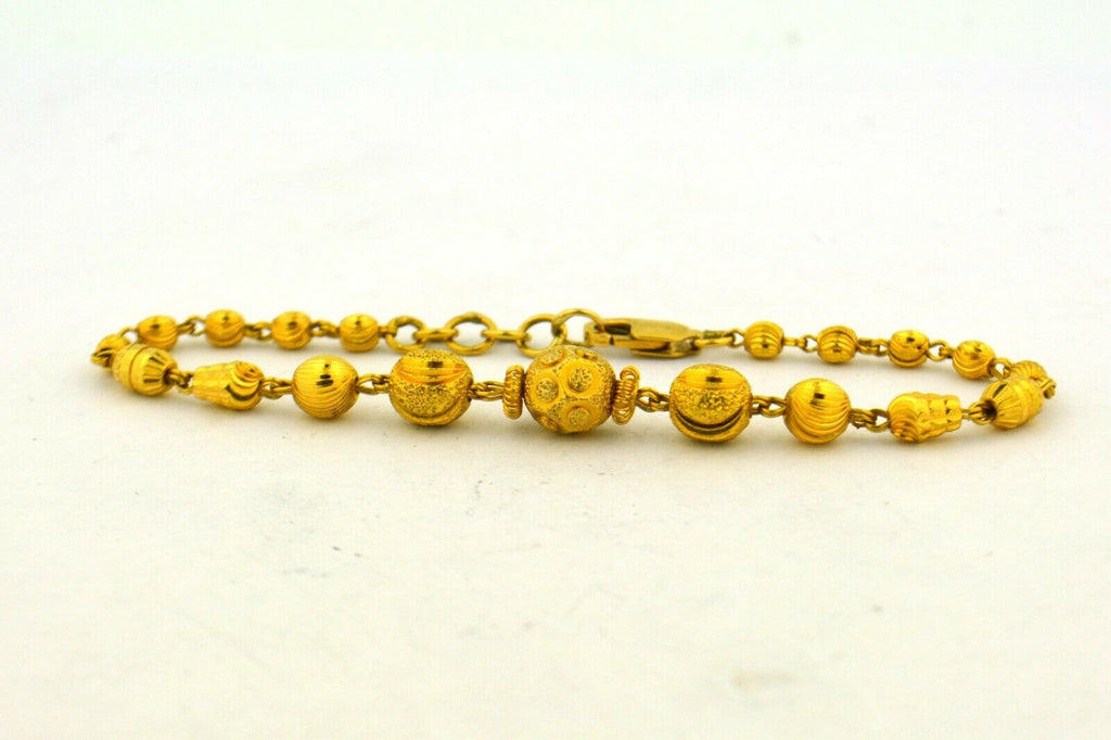 7 In 22K Yellow Gold Detailed Hand Crafted Beaded Bracelet 6.9g - Jewelry Works