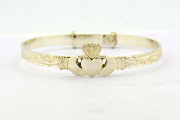 Sterling Silver Children's Adjustable Claddagh Bangle Bracelet - Jewelry Works