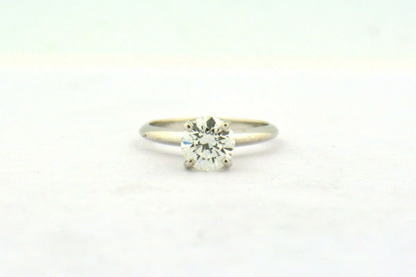 1.25ct Round Brilliant Solitaire Diamond 14KW Gold Engagement Ring VS1 H GIA - Jewelry Works