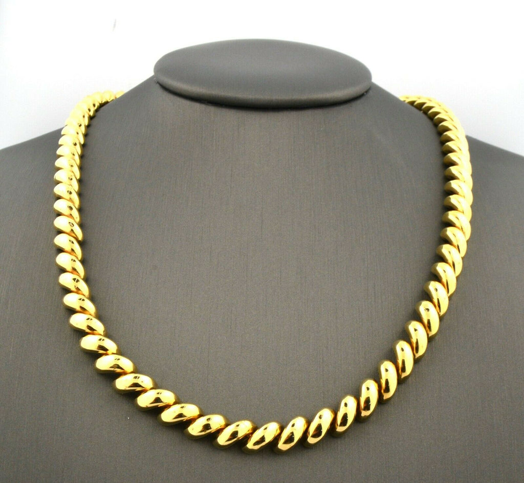 14K Yellow Gold 16.5IN 6.7MM San Marco Macaroni Link Necklace 32.3G - Jewelry Works