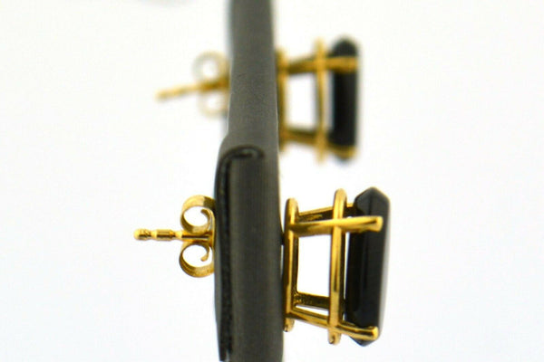 14KY 10x8 Oval Black Onyx Post Earrings 1.7G Four Prong Basket & Friction Backs - Jewelry Works