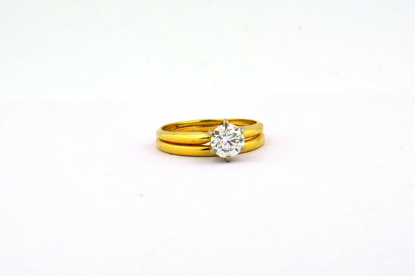 14KY 0.78CT Round Diamond Solitaire Engagement Set Notched Band GIA CERT SI1 G - Jewelry Works