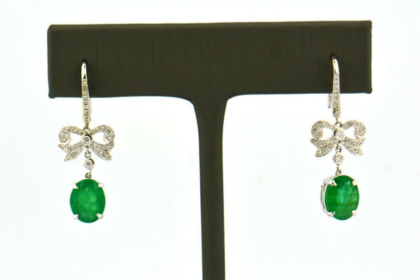 Antique 18KW European/Single Cut Diamond Bow Drop Earrings 3cttw Green Emeralds - Jewelry Works
