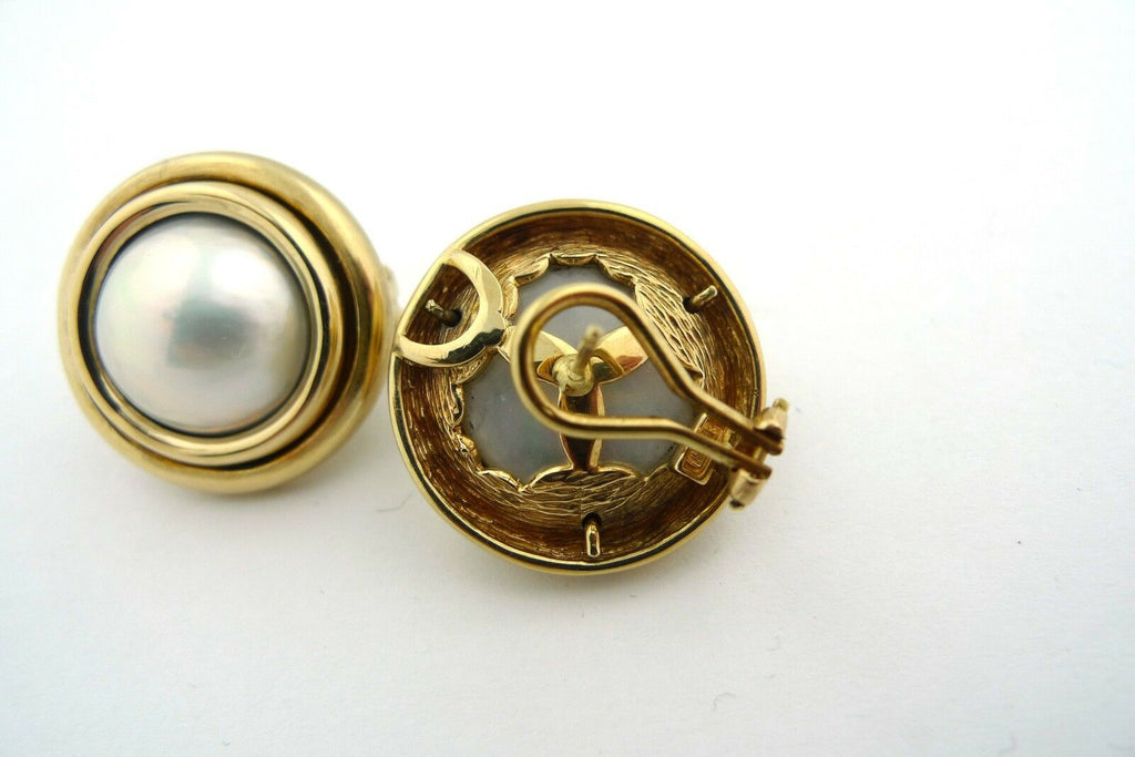 White AAA Mabe Pearl 14K Yellow Gold Earrings - Jewelry Works