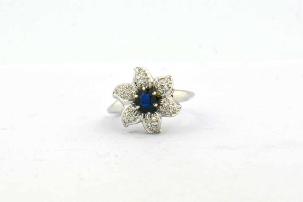 Vintage White Gold Blue Sapphire and Diamond Flower Ring 5 grams