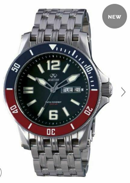 Men's Reactor Watch Tau 61001 Stainless case/bracelet black dial red/blue NWT