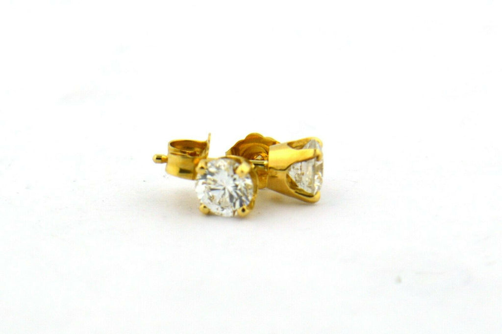 14KY 0.85CTTW Round Natural Diamond SI2 G Four Prong Stud Earrings - Jewelry Works