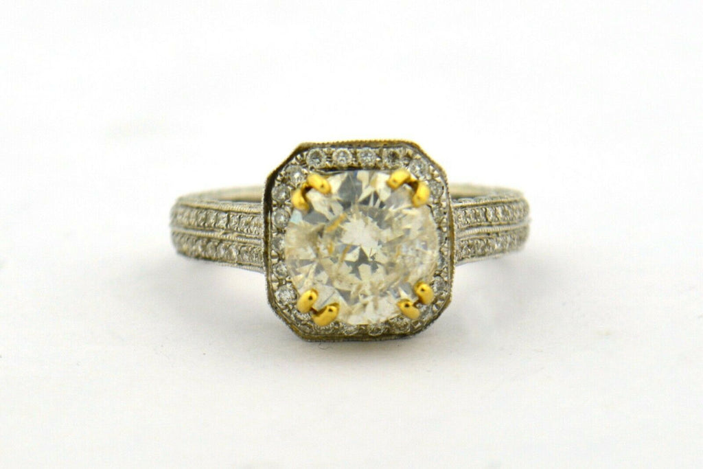 18K White and Yellow Gold 3.1CTTW Diamond Engagement Ring AIG Certification - Jewelry Works