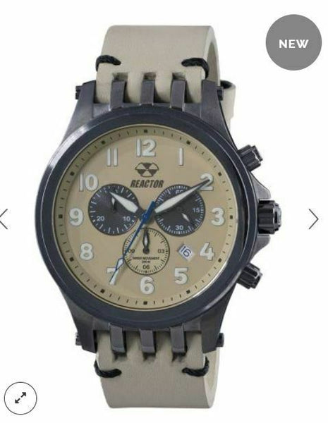 Men's Reactor Watch Quantum 46306 Gunmetal stainless case leather strap NWT