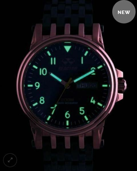 Men's Reactor Watch Neutrino 44603 Navy dial rose gold plated case gunmetal NWT