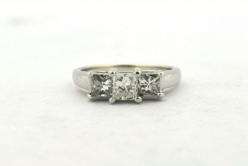 14KW/Platinum 1CTTW Three Stone Princess Cut Diamond Engagement Ring SI2-I1 H-I - Jewelry Works