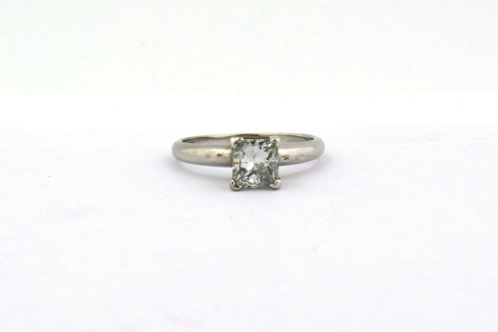 14KW Natural 1.02ct Princess Cut Diamond Solitaire Engagement Ring I1 I 2.4G - Jewelry Works