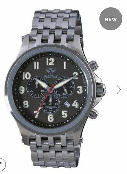 Men's Reactor Watch Quantum 46001 Stainless case & bracelet with black dial NWT