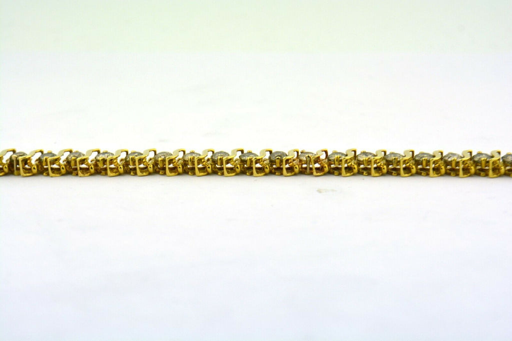 "10k Yellow Gold Tennis Bracelet 9.50cttw Natural Diamonds 7.25"" Vintage 18 grams - Jewelry Works"