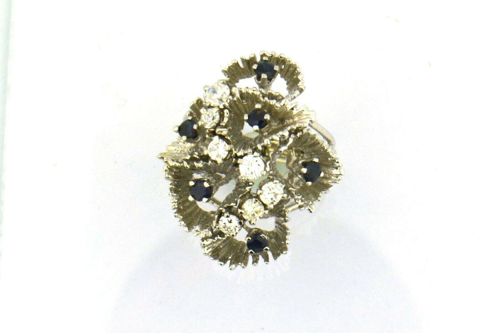 Vintage 14K White Gold Diamond and Blue Sapphire Ruffle Ring - Jewelry Works