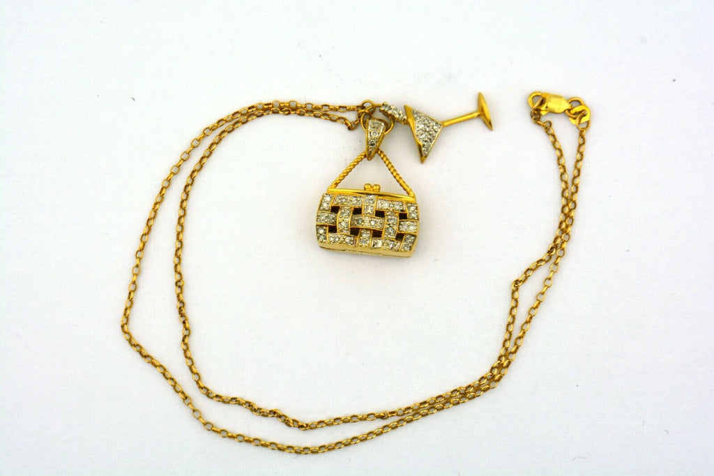 14KY 17IN 0.5CTTW Diamond Purse (it opens!) and Martini Charms on Rolo Chain - Jewelry Works