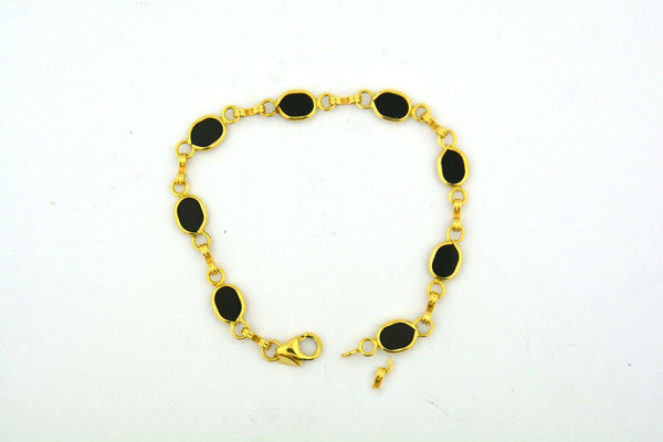 14KY Gold 7.25IN Oval Onyx Link Bracelet 6.6G (Eight 7x5MM Oval Onyx) Bezel Set - Jewelry Works