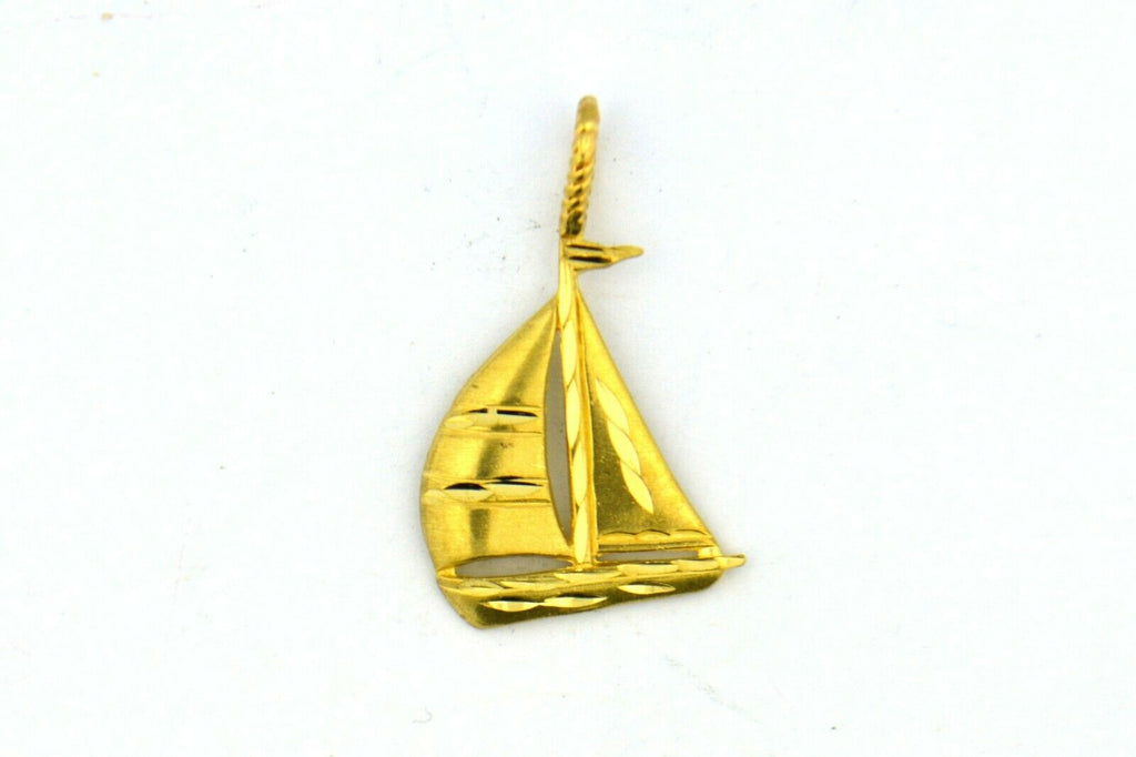14KY 29x17MM Sailboat Pendant with Twisted Bail 2.1G - Jewelry Works