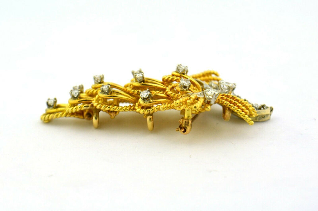 Antique Convertible Brooch Pendant Old European Cut Diamonds 18K Gold 1.6cttw - Jewelry Works