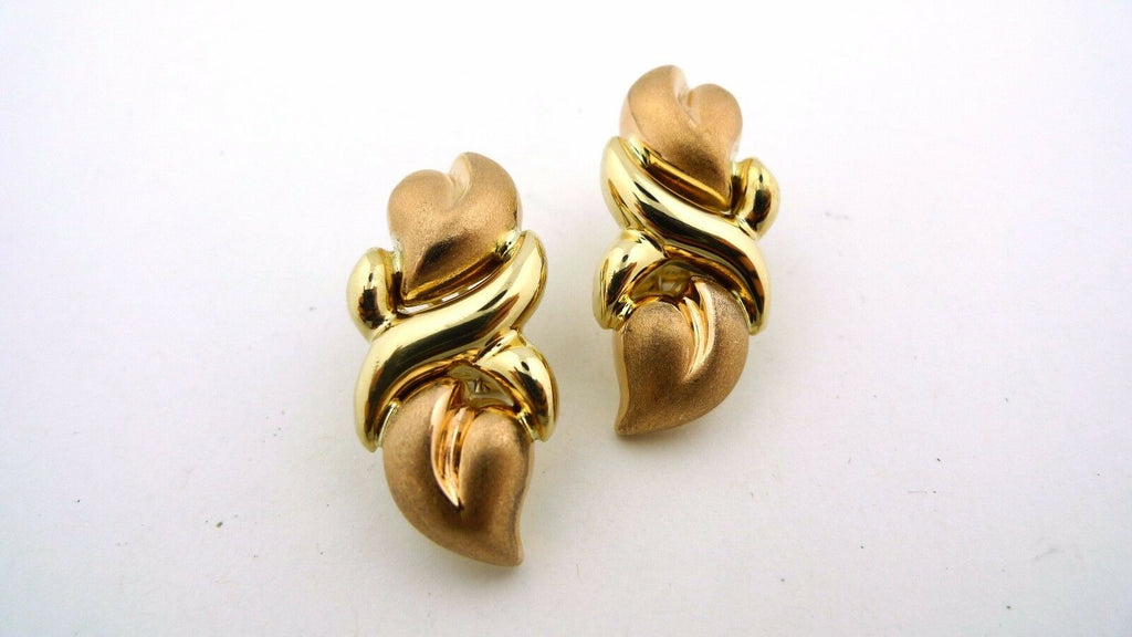 14K Yellow and Rose Gold Omega Clip Earrings 9.6g - Jewelry Works