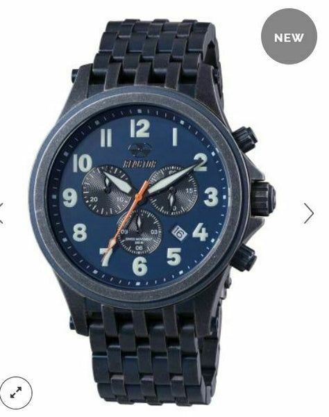 Men's Reactor Watch Quantum 46703 Navy blue dial antique blue plated steel NWT