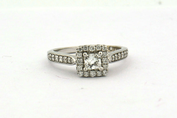 14KW 0.75CTTW Princess Cut Leo Diamond Halo Engagement Ring SI1-SI2 F-G - Jewelry Works