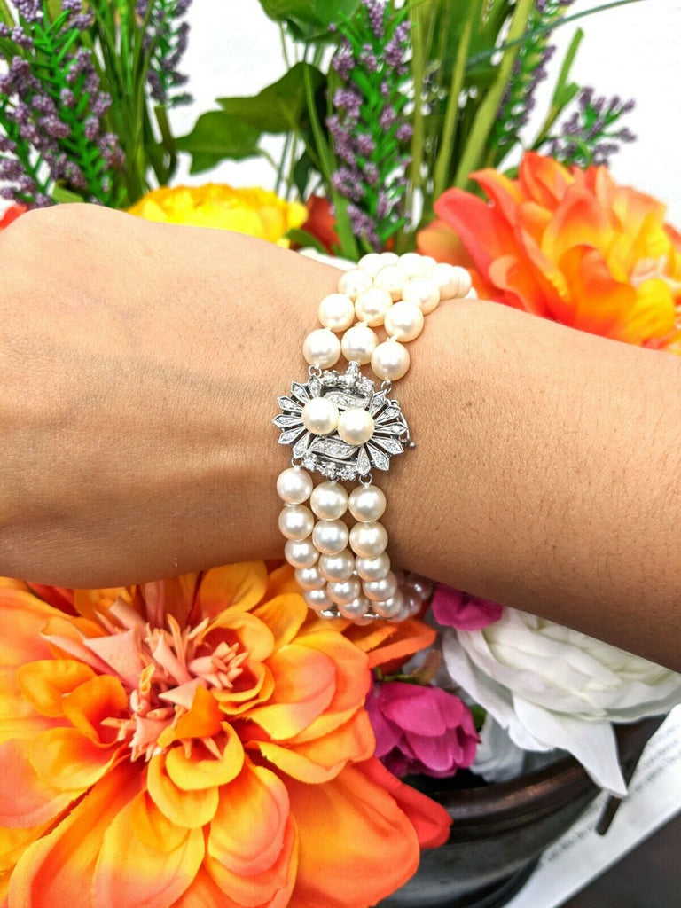 14KW 7IN Art Deco Three Strand Pearl Bracelet with 0.56CTTW Diamond Accented Cla - Jewelry Works