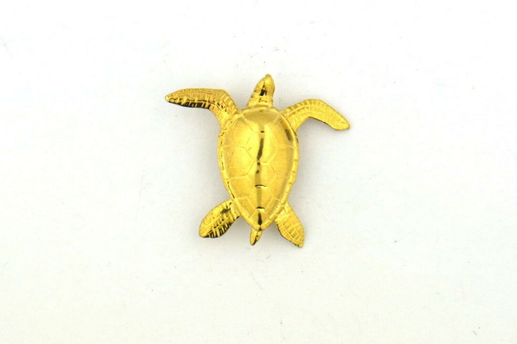 14KY 28x25mm Turtle Pendant with Hidden Bail 3.8G - Jewelry Works
