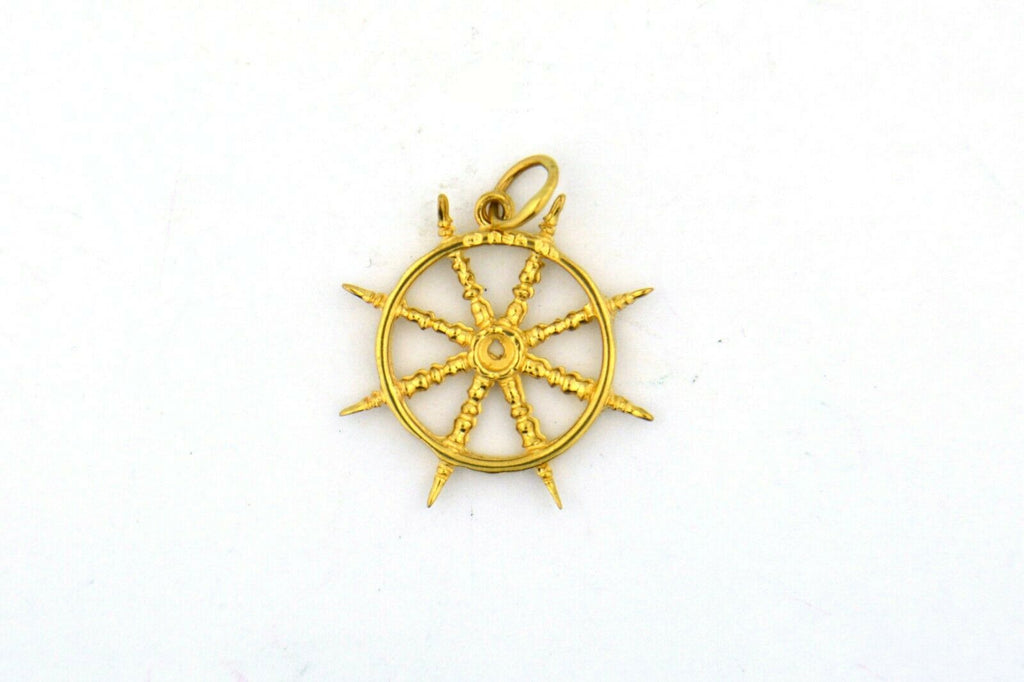 14KY 25x21MM Ship's Wheel or Helm Charm 2.3G - Jewelry Works